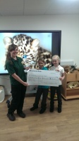 Kaitlin and Alicia presenting the check to Yorkshire Wildlife Park